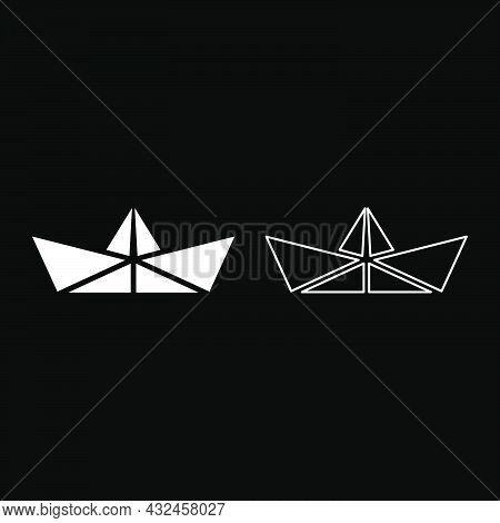 Paper Ship Boat Origami Icon White Color Vector Illustration Flat Style Simple Image Set