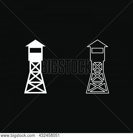 Watching Tower Overview Forest Ranger Fire Site Icon White Color Vector Illustration Flat Style Simp