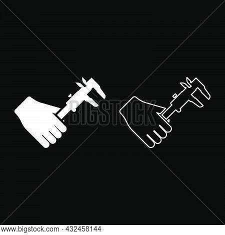 Calliper In Hand Caliper In Arm Measuring Device Measure Use Icon White Color Vector Illustration Fl