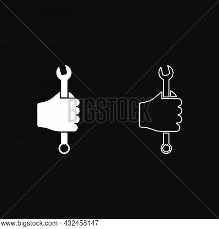 Wrench Hexagon In Hand Tool In Use Arm Spanner Mechanic Engineer Instrument Icon White Color Vector