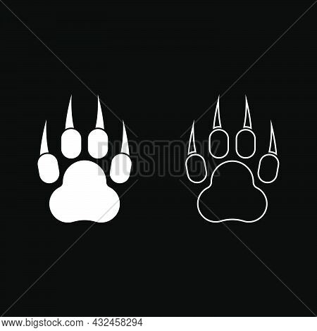 Print Paw Wild Animal With Claw Track Footprint Predatory Pawprint Icon White Color Vector Illustrat