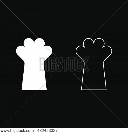 Cat Paw Foot Cat's Leg Cute Domestic Animal Icon White Color Vector Illustration Flat Style Simple I