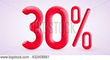 30 Percent Off. Discount Creative Composition. 3d Sale Symbol With Decorative Confetti. Sale Banner