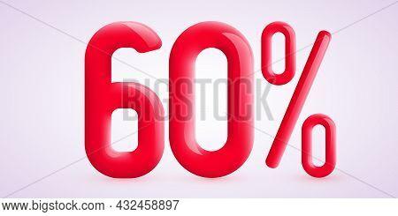60 Percent Off. Discount Creative Composition. 3d Sale Symbol With Decorative Confetti. Sale Banner