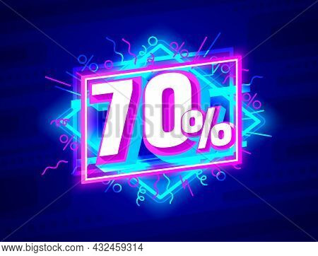 Cyber 70 Off Sale Banner, Light Neon Flyer, Retro Label. Vector