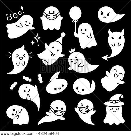 Halloween Ghost Character. Vector Cute Ghost Clip Art
