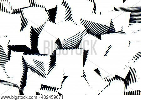 Abstract Woodcut Styled Background With Low Poly Cubes. Waving Lines Engraving Abstraction.