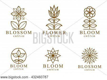 Geometric Linear Style Vector Flower Logos Or Emblems Set, Sacred Geometry Floral Symbols Line Drawi