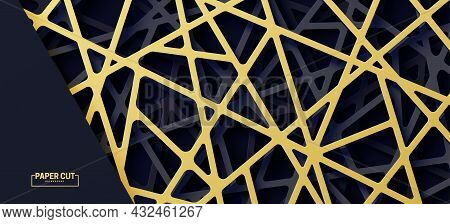 3d Realistic Backdrop With Cut Out Gold And Black Color Stripes Entangled Web. Abstract Luxury Backg