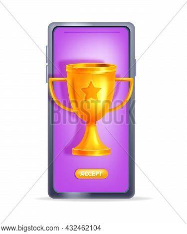 Online Reward Vector Concept, Bonus Gift Prize, Smartphone Screen, Golden Trophy Cup. Loyalty Progra