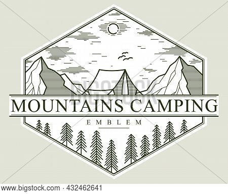 Log Cabin Wooden House In Pine Forest Over Mountain Range Vector Nature Emblem Isolated On White, Co