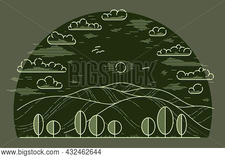 Beautiful Scenic Grasslands And Trees Vector Linear Illustration On Dark, Outdoor Hiking Camping Ant