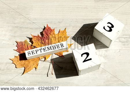 Calendar For September 23 : The Name Of The Month Of September In English, Cubes With The Number 23,