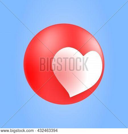 Isolated Heart Emoticon Reaction In Heart Shape. Love Reaction For Social Media Ui. Vector Illustrat