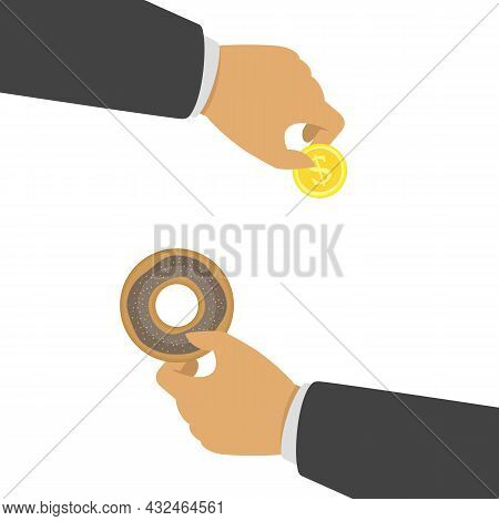 Hand Holding A Donut. Donuts In Mans Hands. Buying Donut Concept. Vector Eps 10.