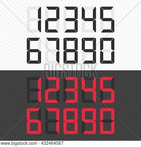 Calculator Digital Numbers Set. Electronic Figures. Vector Illustration Eps 10.