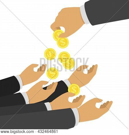Businessman Gives Man A Gold Coin. Charity Concept. Hand Holding Golden Coin. Transfer Of Cash From
