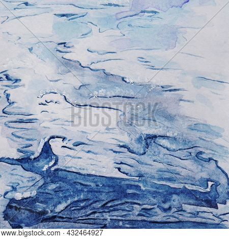 Pond, Sea, Ocean, Water Shimmers, Highlights With Watercolor Blue