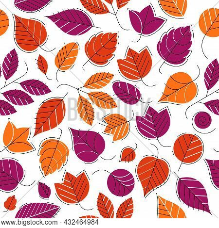 Stylish Cartoon Autumn Leaves Seamless Vector Pattern, Endless Wallpaper Or Textile Swatch With Tree