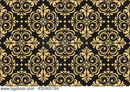 Floral Pattern. Vintage Wallpaper In The Baroque Style. Seamless Vector Background. Gold And Black O