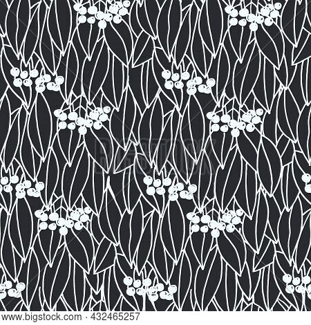 Seamless Allover Pattern With Amur Cork Tree Branches And Berries. Monochrome Vector Illustration On