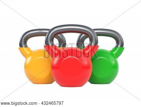 Three Colorful Kettlebell Over White Background. Heavy Weights. Gym And Fitness Equipment. Workout T