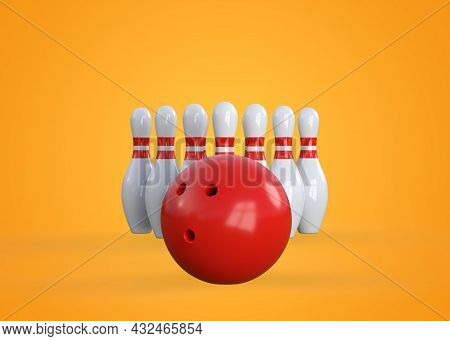 White Bowling Pins In Form Of Triangle And Bowling Ball On Yellow Background. Front View. Creative M