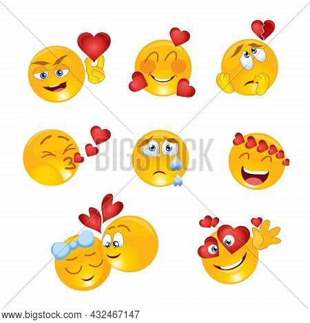 A Set Of Yellow Smileys With Various Love Emotions With Hearts.