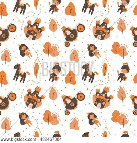 Childish Autumn Fairy Tale Seamless Pattern With Castle, Princess, Coach, Knight, Horse, Autumn Tree