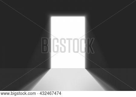 Open Door Light In A Dark Room. Bright Doorway Background