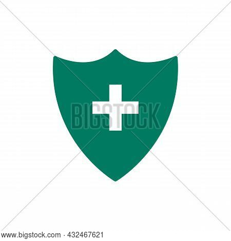 Plus Or Cross On The Shield Color Icon, A Symbol Of Medicine, Immunity And Protection Of The Pc From