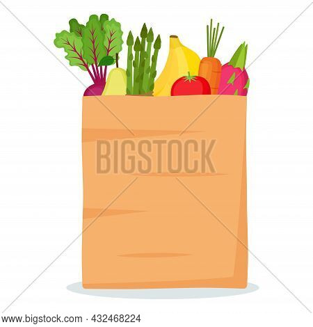 Paper Bag With Fruits And Vegetables, Vector Illustration