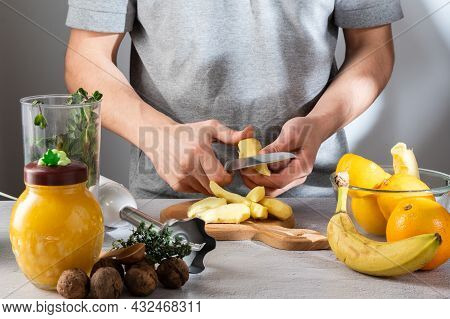 Cut The Ginger Into Slices. Slice The Fruit For The Ginger. Healing Drug.