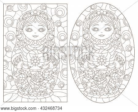 A Set Of Contour Illustrations In The Style Of Stained Glass With Russian Dolls, Dark Contours On A