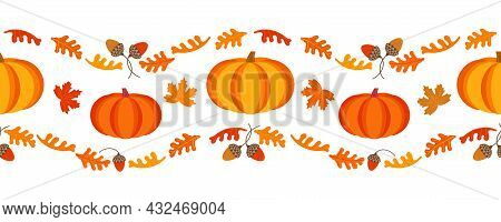 Happy Thanksgiving Day Holiday Geometric Seamless Vector Border Pattern. Cute Pumpkin, Oak Leaves Nu