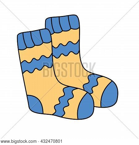 Knit Hand-made Socks Vector Illustration In Colored Cartoon Doodle Style.seasonal Winter Clothing Si
