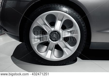 St Petersburg, Russia - January 29, 2021: Sports Car Wheel On A Light Alloy Rim, Designed By Bertone
