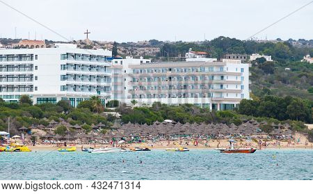 Ayia Napa, Cyprus - June 16, 2018: Agia Napa Seaside View On A Sunny Summer Day. It Is A Tourist Res