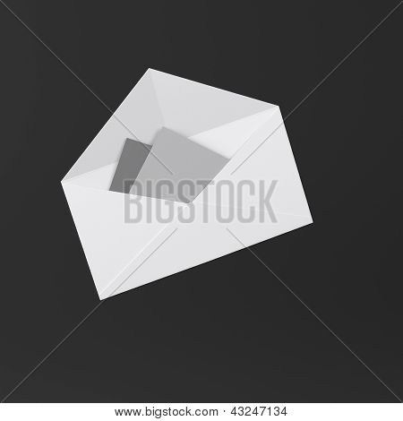 Envelope with letter icon on black