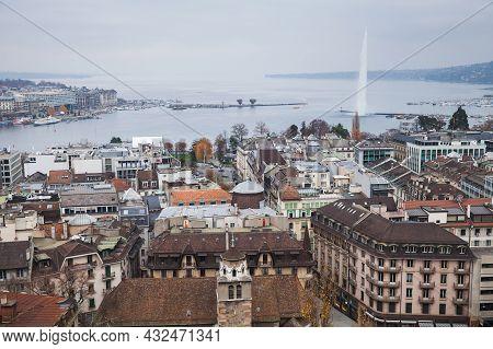 Geneva, Switzerland - November 26, 2016: Aerial Cityscape Of Geneva Central District And Geneva Lake