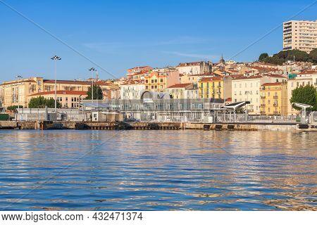 Ajaccio, France - June 30, 2015: Ajaccio Port, Coastal Summer Seaside View With Cargo Ferry Terminal