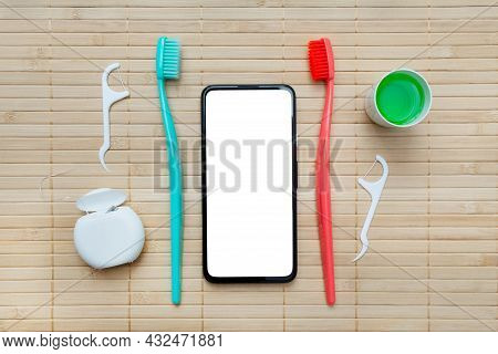 Teeth Hygiene And Oral Dental Care Products. Oral Care Kit. Dental Toothbrushes. Flat Lay. Copy Spac