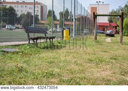 Shop And Trash Bin, Playground , Colorful Playground In Europe. Fresh Air Entertainment
