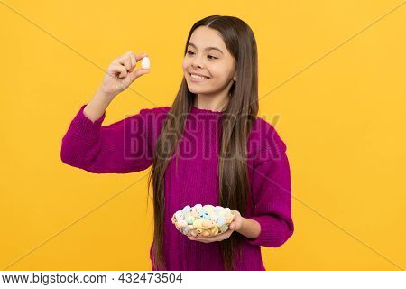 Cheerful Teen Child Holding Colorful Easter Quail Eggs, Easter Holiday