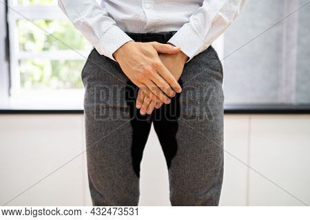 Man With Incontinence And Urinary Dysfunction. Pee Control Disorder