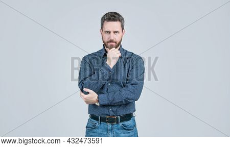 Clothing For The Serious Man. Bearded Man Think Grey Background. Serious Look. Chin Propping