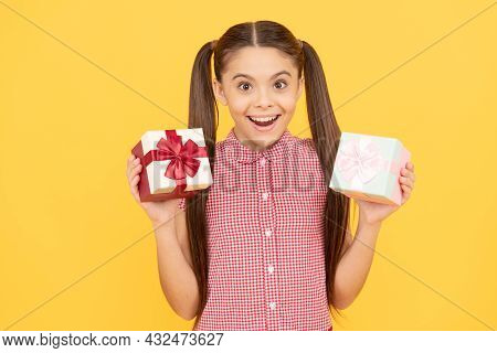 Surprised Kid Girl Hold Present Box For Birthday, Surprise