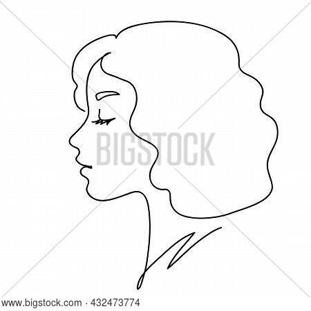Woman Profile With Blonde Curve Hair. Portrait Female Beauty Concept. Continuous Line Drawing Vector