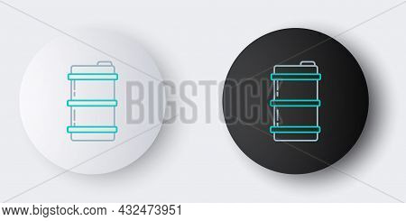 Line Metal Beer Keg Icon Isolated On Grey Background. Colorful Outline Concept. Vector