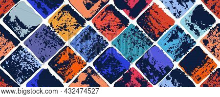 Old Aged Tiles Vector Seamless Background, Rusty Grunge Texture Endless Mosaic, Vintage Art.